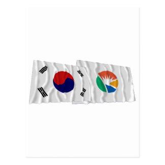 Korea and Kyongsangnam-do Waving Flags Postcard