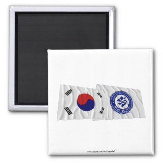 Korea and Pusan Waving Flags 2 Inch Square Magnet