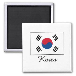 Korea Flag Design 2 Inch Square Magnet