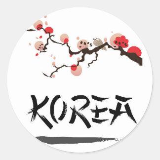Korea Ink vintage travel poster. Classic Round Sticker