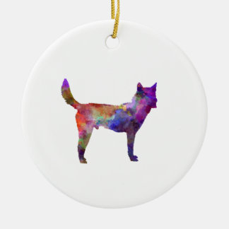 Korea Jindo Dog in watercolor Ceramic Ornament