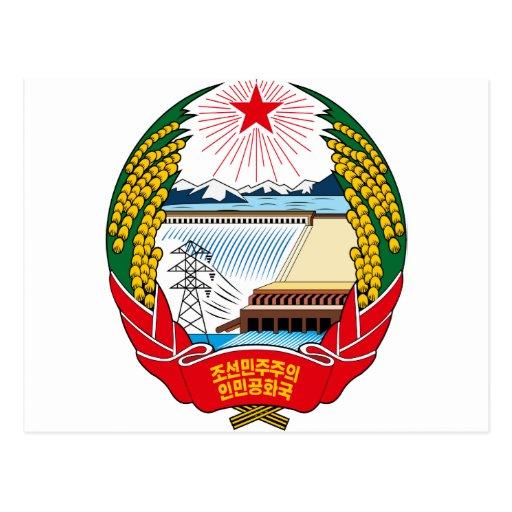 korea north emblem postcard