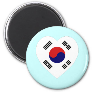 Korea (South) Flag Heart 2 Inch Round Magnet
