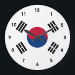 """korea south large clock<br><div class=""""desc"""">Flag of South Korea. The flag of South Korea, or Taegeukgi (also spelled Taegukgi in convention) has three parts: a white background; a red and blue taegeuk (also known as Taiji and Yinyang) in the center; and four black trigrams, one in each corner of the flag. These trigrams are carried...</div>"""