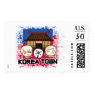 KOREA TOWN Stamps: Kids with South Korean Flag Fan Postage