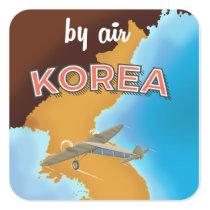 Korea vintage travel poster print square sticker