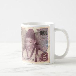 Korean 1000 won classic white coffee mug