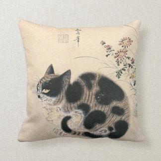 Korean Art, Autumn Cat in a Garden Pillow