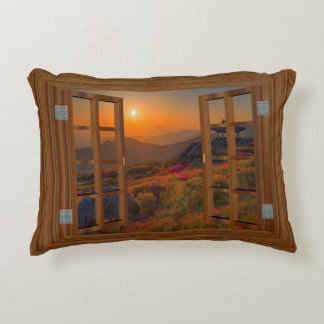 Korean Autumn Sunset Temple Faux Window View Accent Pillow
