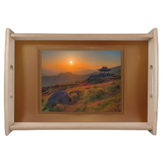Korean Autumn Sunset Temple Wood Frame Serving Tray