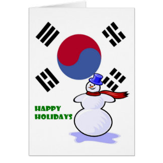 Korean Flag Snowman Holiday Greeting Cards