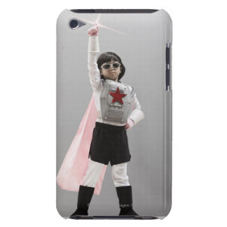 Korean girl in superhero costume with arm raised barely there iPod cover