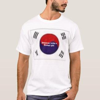 Korean girl with flag T-Shirt
