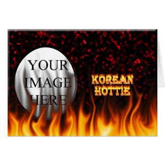 Korean Hottie fire and flames Red marble. Greeting Card