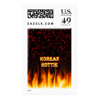 Korean Hottie fire and flames Red marble. Postage