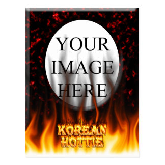 Korean Hottie fire and flames Red marble. Postcard
