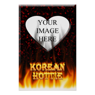 Korean Hottie fire and flames Red marble. Poster