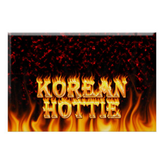 Korean Hottie fire and flames Red marble. Posters