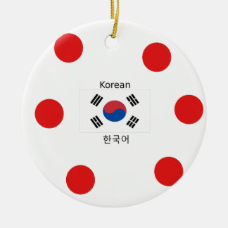 Korean Language And South Korean Flag Design Ceramic Ornament