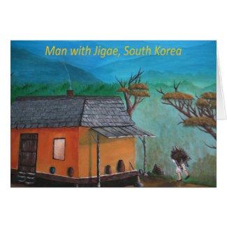 Korean Man Carrying Wood (Jigae) Greeting Card