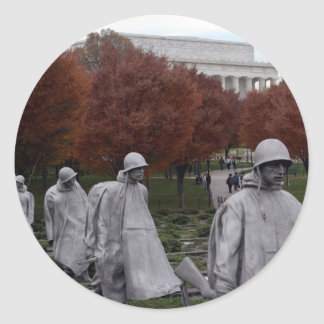 Korean Memorial and Lincoln Memorial Fall Classic Round Sticker