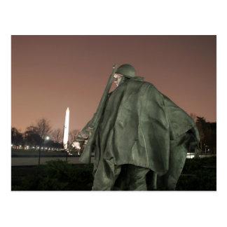 Korean Memorial and Washington Monument at night Postcard