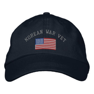 Korean Vet with American Flag Embroidered Baseball Cap