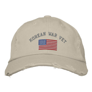 Korean Vet with American Flag Embroidered Baseball Hat