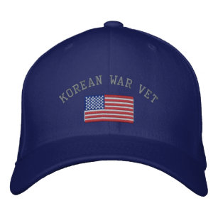 c945cc1c8af Korean Vet with American Flag Military Embroidered Baseball Hat