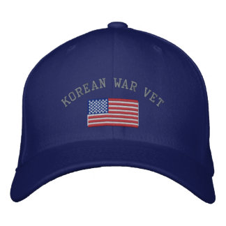 Korean Vet with American Flag Military Embroidered Baseball Hat