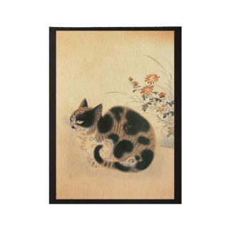 Korean Vintage Cute Cat Wood Poster