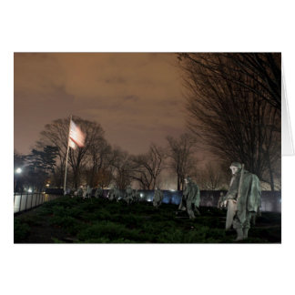 Korean War Memorial Washington Monument night Greeting Card