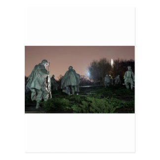 Korean War Memorial Washington Monument night Postcard