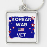 Korean War Vet Silver-Colored Square Keychain