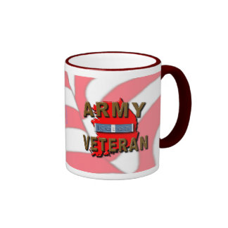 Korean War Veteran Service Ribbon, ARMY Ringer Coffee Mug