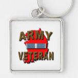 Korean+War Veteran Service Ribbon, ARMY Silver-Colored Square Keychain