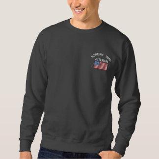 Korean War Veteran with American Flag Military Vet Embroidered Sweatshirt
