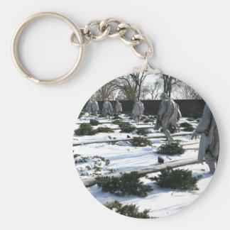 Korean War Veterans Memorial snow Key Chains