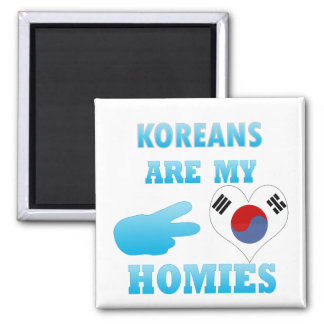 Koreans are my Homies 2 Inch Square Magnet
