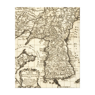 KoreaPanoramic MapKorea Impresión En Lienzo