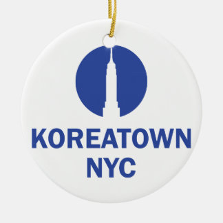 KOREATOWN NYC Double-Sided CERAMIC ROUND CHRISTMAS ORNAMENT