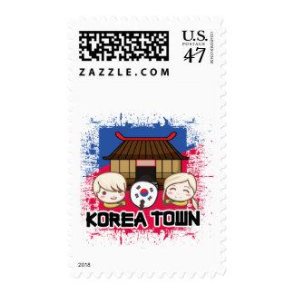 Koreatown Stamps: Children, South Korean Flag Fan Postage Stamp