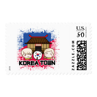 Koreatown Stamps: Kids with South Korean Flag Fan Postage