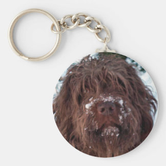 Korthals Griffon - Snowy Sarah Basic Round Button Keychain