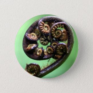 Koru unfurling fern frond button