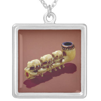 Korvack pipe with carved Polar Bears Silver Plated Necklace