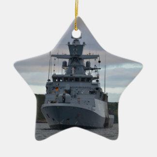 Korvette Braunschweig Anchored in Plymouth Ceramic Ornament