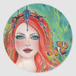Korynna mermaid with clownfish by Renee Lavoie Classic Round Sticker