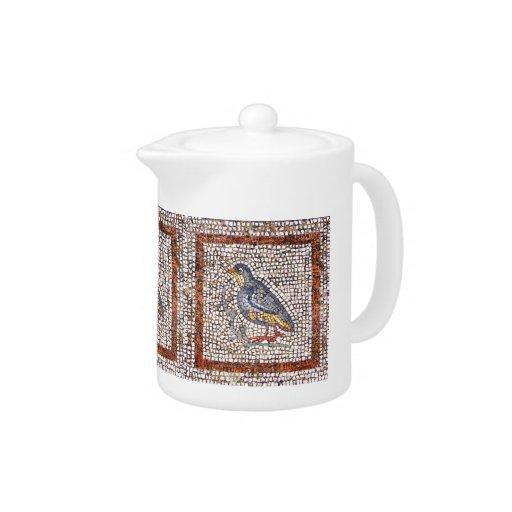 Kos Bird Mosaic Cute Teapot or Coffee Pot