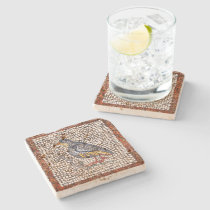 Kos Bird Mosaic Stone Coaster in Travertine at Zazzle
